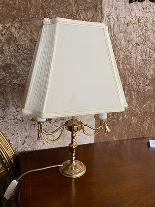 Brass base with candlesticks bulb holders cream shade lamp