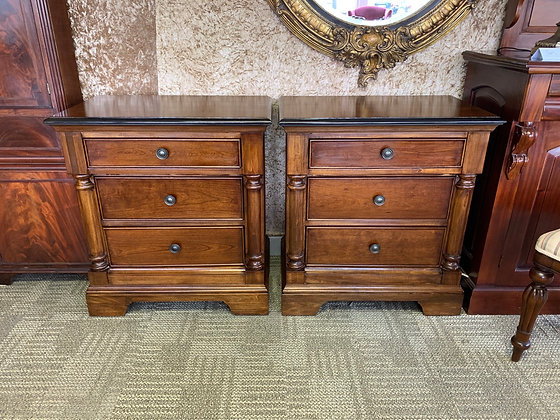 A pair of mahogany side drawers