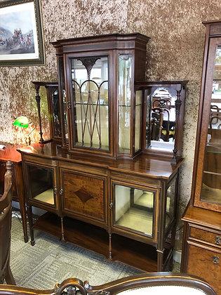 Edwardian marquetry inlaid mahogany display cabinet
