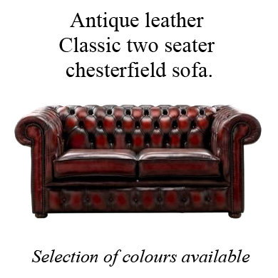 Antique leather Classic 2 seater chesterfield sofa.