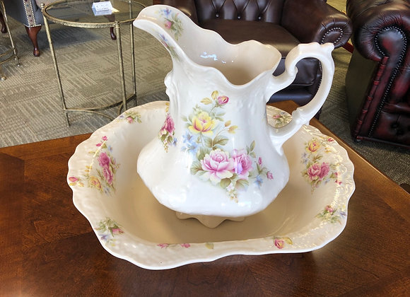 Country flowers wash bowl and jug set.