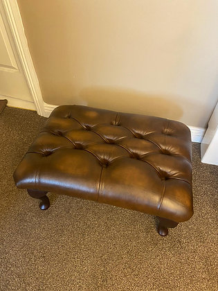Brown leather chesterfield footstool - currently in stock