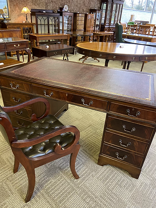 Mahogany writing desk with new red leather top with 9 drawers