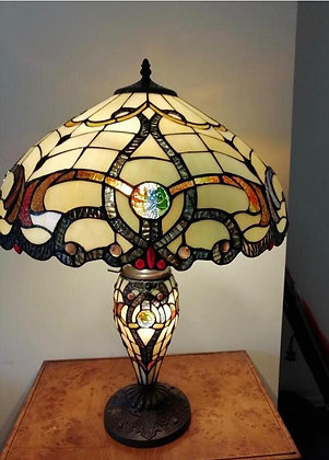 Tiffany style lamp with light up base cream/brown