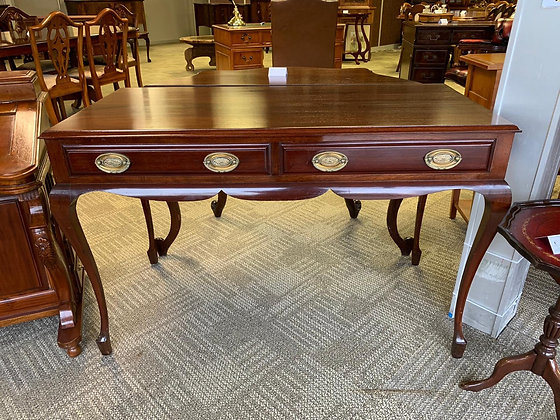 Mahogany console table with 2 drawers.