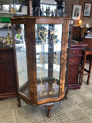 China Glass Cabinet Walnut with Mirror Background & 2 Shelves