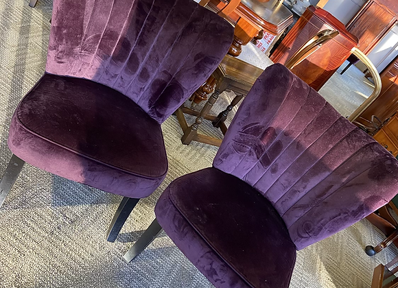 Purple velvet occasional chairs
