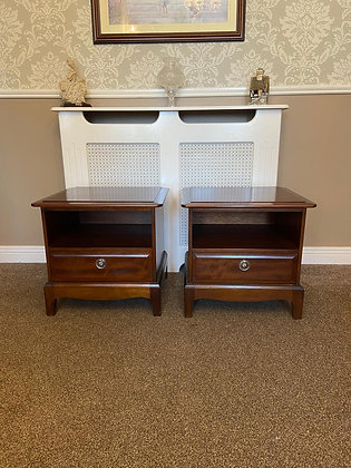 A pair of solid mahogany side lockers with 1 drawers
