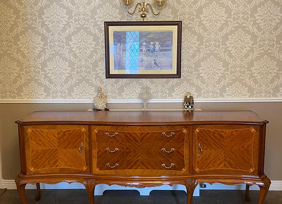 Classic aged mahogany Italian style sideboard has 2 cupboards & 3 centre drawers