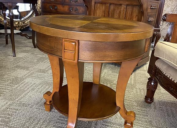 Walnut inlaid drum table