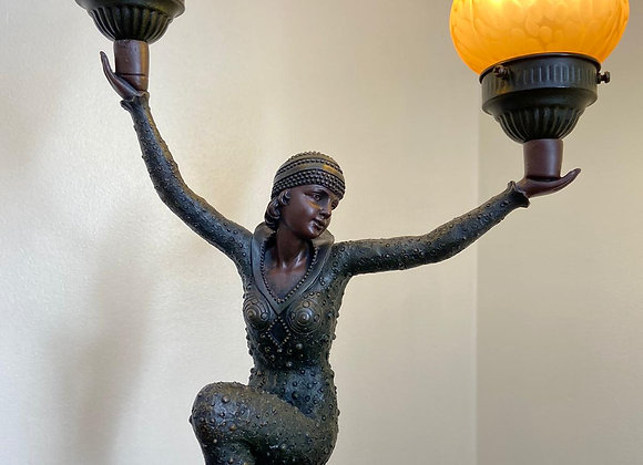 Bronze effect lady lamp high knee with Irish flag shade