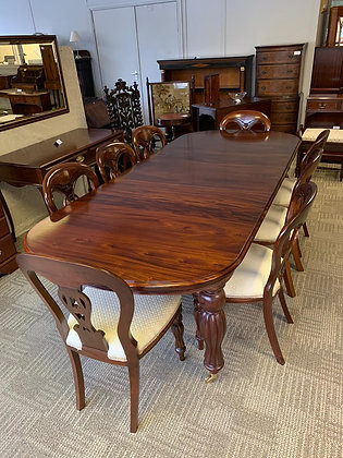 Mahogany extendable d-end table with 8 chairs