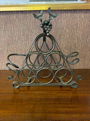 Ornate Wine bottle stand - Wrought Iron with Grapes design