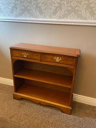 Mahogany book shelf with 2 top drawers & 1 lower shelf