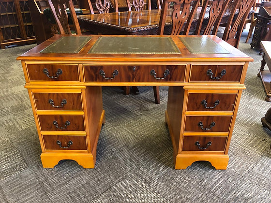 Yew /mahogany desk with olive green leather top