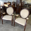 Thumbnail: Open armchairs,carved mahogany with foliagespotted upholstered seat and back