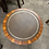 Thumbnail: Yew drum table with creamy brown leather top