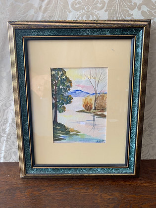 Framed Water Colour Painting - Mountain & River