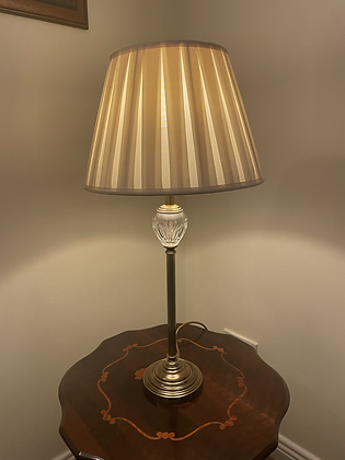 Brass table lamp with glass feature and cream shade  H28 inches x Shade width 14
