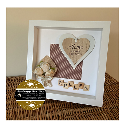 """Home is where the heart is"" with peach rose & family surname frame"