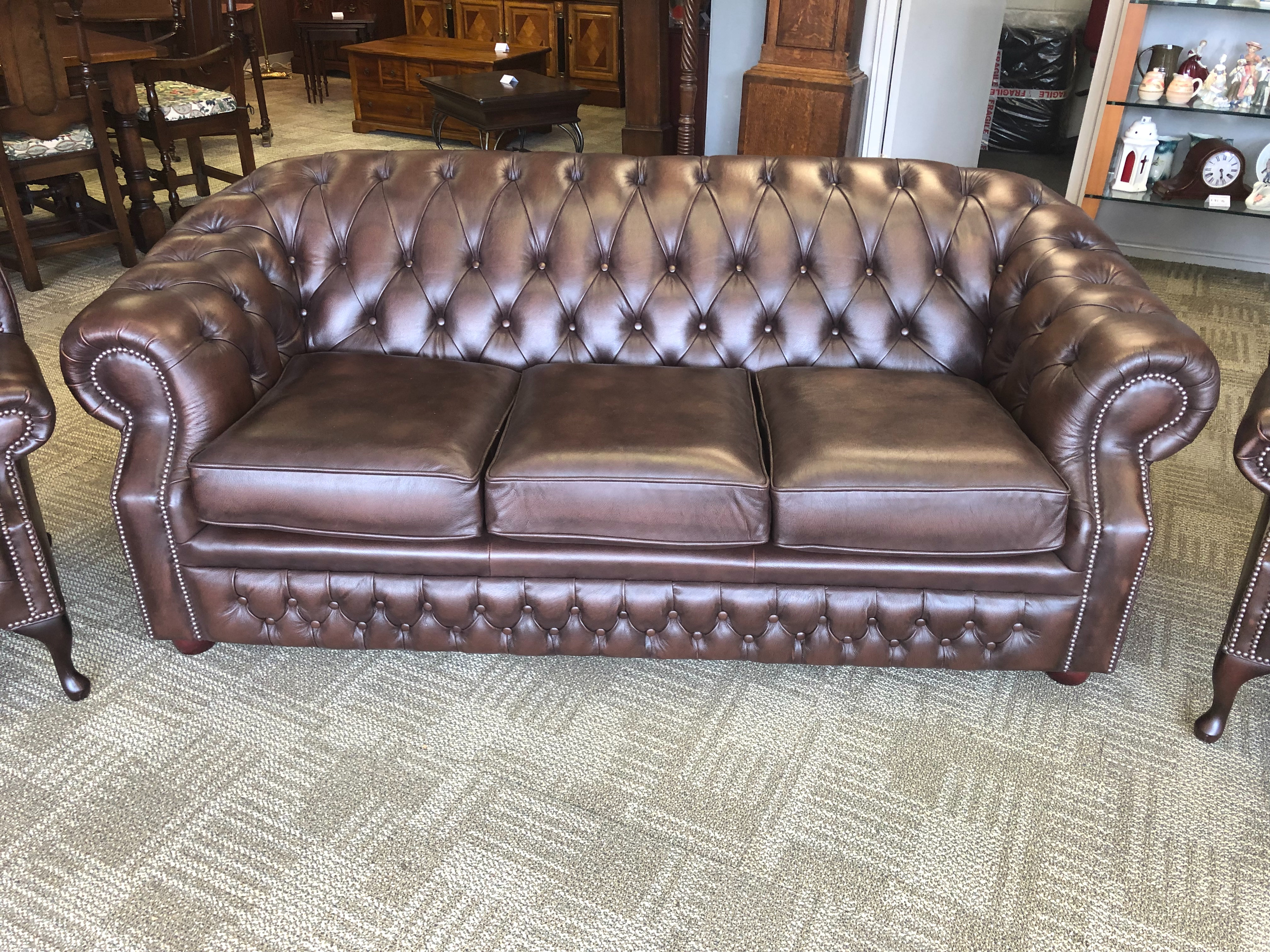 Windsor Antique Brown 3 Seater Leather Chesterfield Sofa