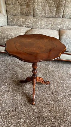Mahogany inlaid sculpted side table (slightly larger in height)