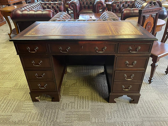 Mahogany twin pedestal writing desk with brown leather top