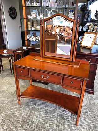 Mahogany inlaid dressing table & mirror