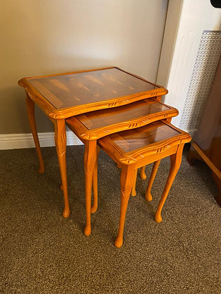 Yew glass top nest of tables