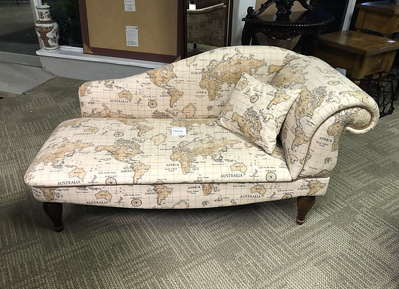 Chaise with a cream world print fabric