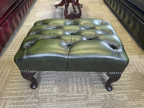 Green leather chesterfield footstool - made to order
