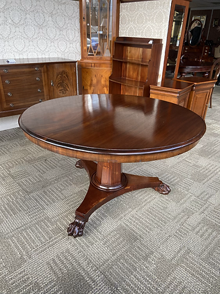 Mahogany Round Table with Clawed Feet Hall Table