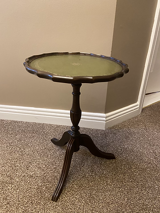 Mahogany green leather side table