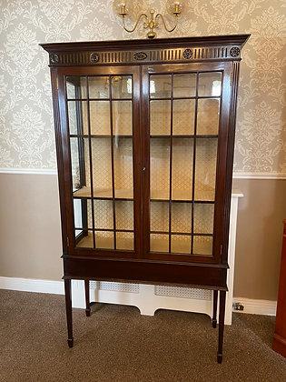 Edwardian mahogany inlaid display cabinet with cream background