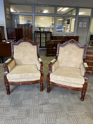 A pair of armchairs, moulded frame carved mahogany with foliage and
