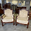 Thumbnail: A pair of armchairs, moulded frame carved mahogany with foliage and
