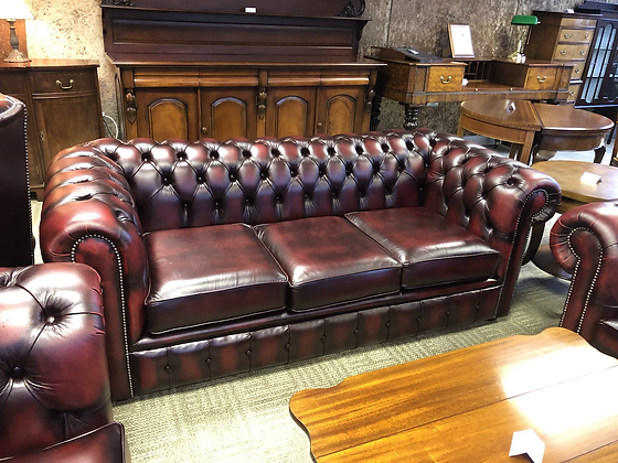Oxblood leather chesterfield 3 seater - made to order
