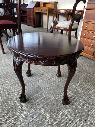 Mahogany round side table with ornate legs