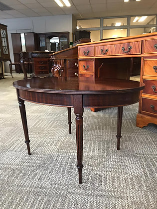 Mahogany oval side table with ornate legs