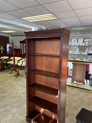 Mahogany bookcase with adjustable wooden shelves