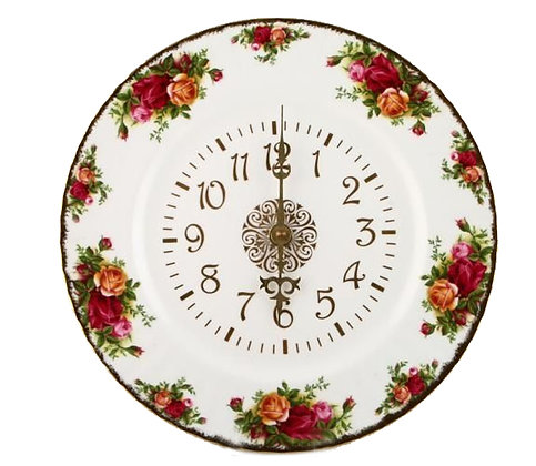 Royal Albert Old Country Roses Plate Wall Clock 10.5inches