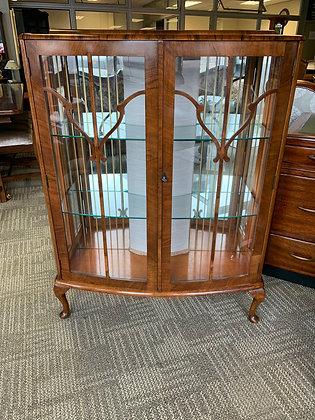 Walnut china Art Deco 1930's display cabinet.