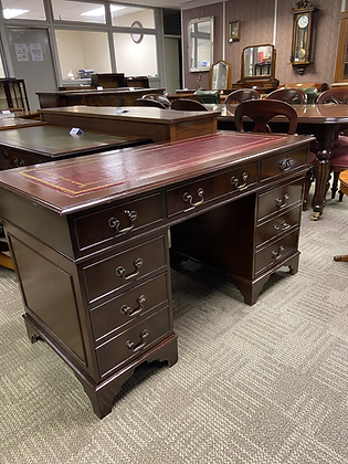 Mahogany writing desk with red leather top