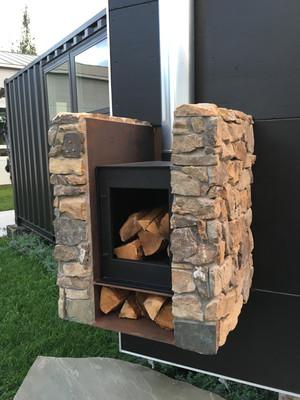 Cargo Door with Stone Fireplace