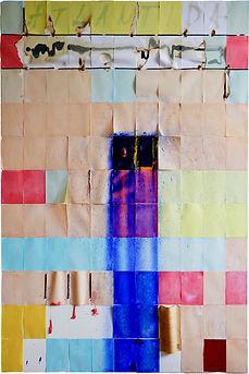 atlantida/ 2018/ 100x150cm/ dřevo, kámen, pigment, olej, papír, pryskyřice na plátně/ soukromá sbírk