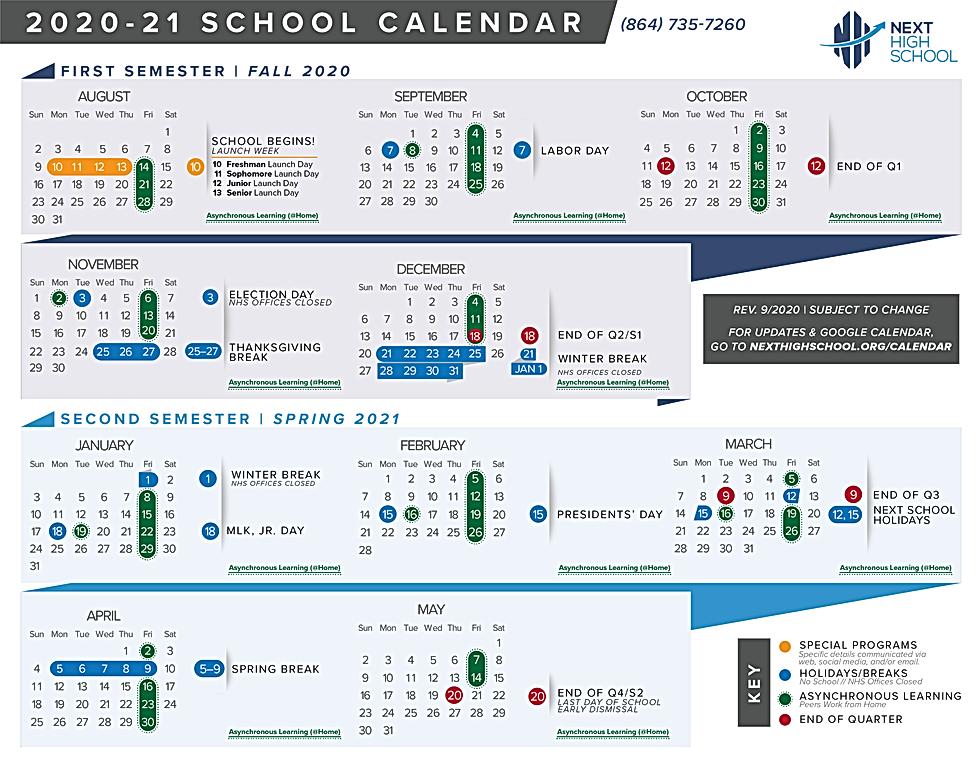 NHS 2020-21 School Calendar REVISED 9-20
