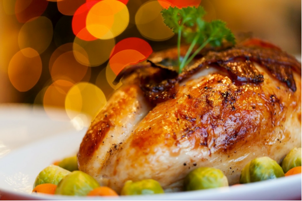 turkey on the table with fresh vegetables