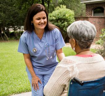 Community Care Hospice Nurse and Patient