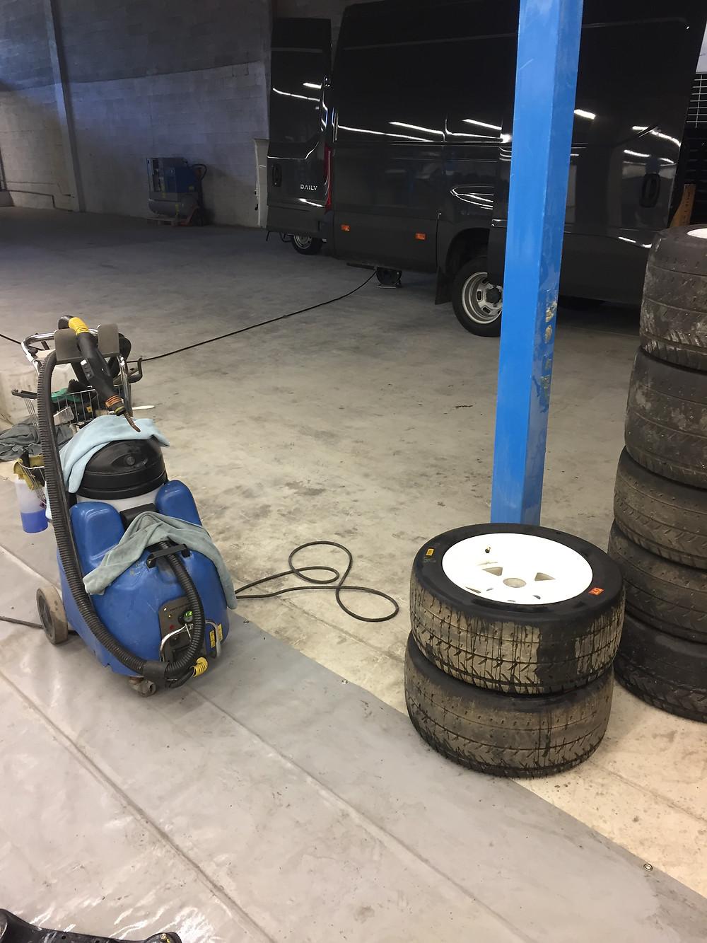 Nettoyage roues à la vapeur