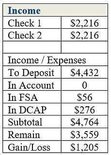 Income in the monthly budget